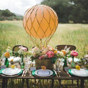 Floral hot air balloon centre piece