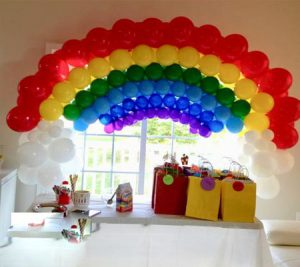 Rainbow balloon birthday wreath