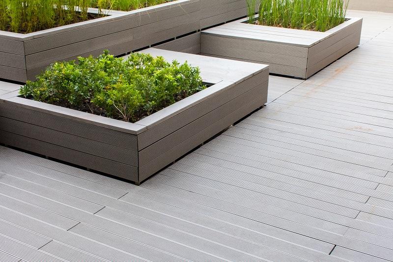 concrete planter trough